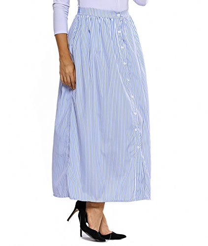 Lalagen Women's Striped Front Slit Ankle Length Button Front High Waist Maxi Skirt Blue M