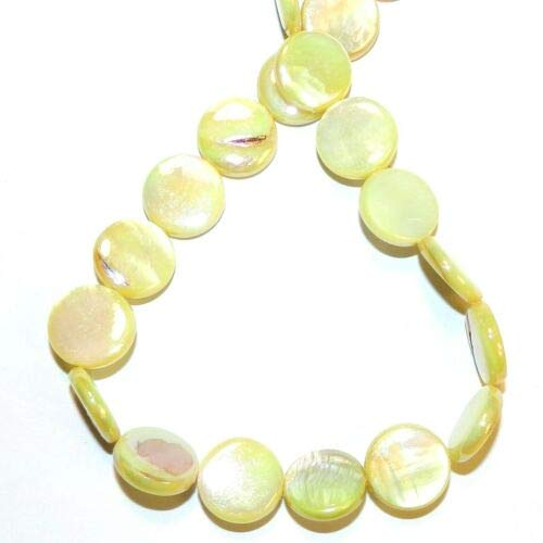 (MP2497 Yellow AB 15mm Flat Round Coin Mother of Pearl Shell Beads 14'' Crafting Key Chain Bracelet Necklace Jewelry Accessories Pendants)