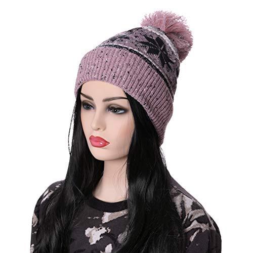 LANLEO Women Girl Winter Knit Beanie Soft Warm Fleece Lining Pompoms Hats Snow Ski Cap (Pink Snowflake)