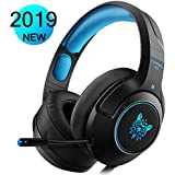 WILLNORN Gaming Headset for Xbox One, PS4, PC Controller Noise Cancelling Over Ear Headphones with Mic, LED Light, Bass Surround for Laptop Mac Nintendo Switch Games (Blue)