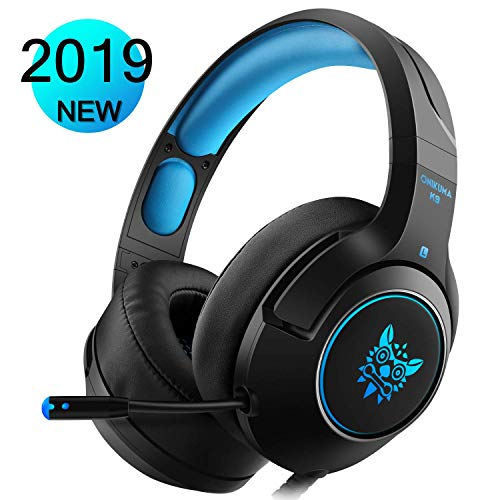 17 - WILLNORN Gaming Headset for PS4 Xbox One Controller, Laptop, PC, Nintendo Switch, Smartphones, Noise Cancelling Over Ear Headphones with Mic & LED Light Stereo Sound (Blue2)