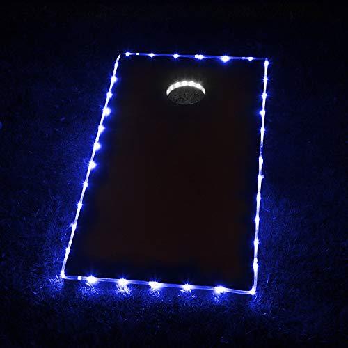 Cornhole Lights, Cornhole Led Lights fit for Cornhole Boards, Cornhole Bags, Backyard Bean Bag Toss Game, Two White Cornhole Rings Lights and Two Blue Cornhole Edge Lights