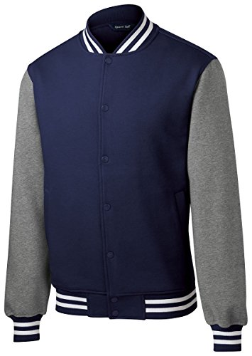 Sport-Tek Men's Fleece Letterman Jacket XL True Navy/Vintage Heather ()