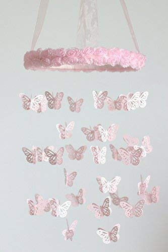 Butterflies & Roses Nursery Mobile in Light Pink- SMALL SIZE