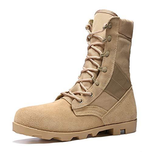 YAN Herren Schuhe Suede Herbst Martin Stiefel Lace up High-Top-Armee-Stiefel Arbeitsstiefel Rutschfest, haltbar beige schwarz (Farbe   Beige, Größe   44)