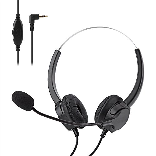 2.5mm Jack Call Center Headset, BizoeRade Noise Cancelling Binaural Headphone with Mic and Cable for Office Office DECT Phone,Most Cordless Phones