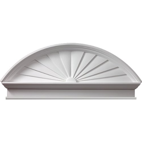 "Fypon CSP54BT 54""W x 58 1/2""OW x 22 3/8""H x 3 1/8""P Combination Sunburst Pediment with Bottom Trim, Urethane"