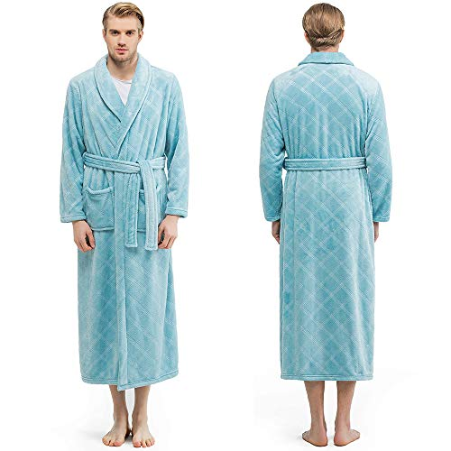 Bencier Men's Plush Soft Shawl Collar Fleece Bathrobe - Hotel Thick Spa Bathrobe (Ice Blue, XL)