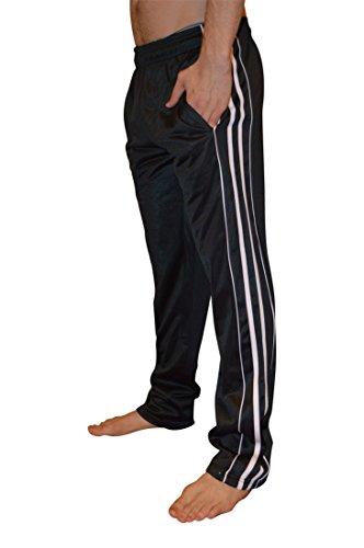 AllPro Men's AP Dash Warm-Up Pants Track Pants Open Bottom (Medium, Black/White)