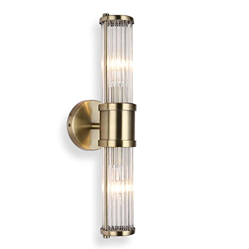 ECOBRT Modern Glass Rod Shades Wall Sconce Lights Fixture Bronze Color Bedroom Living Room Bathroom Entryway Hallway Balcony Fixtures Light E12 Bulb(not Include)