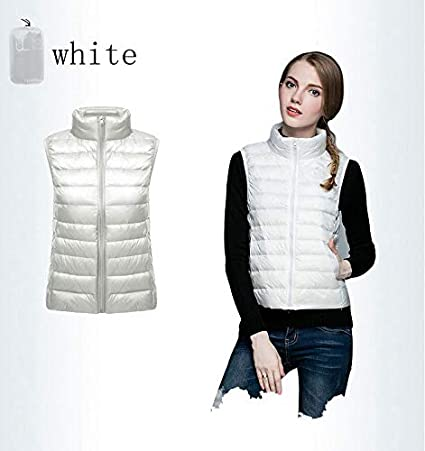 YUHOOE WomenS Down Gilet Coat Vest,Women Sleeveless Ultra Light Down Vest Women White Duck Down Vest Female Stand Collar Slim Warm Waistcoat