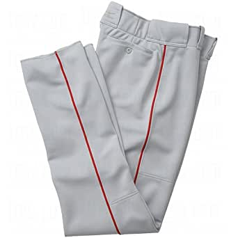 Mizuno Men's Premier Full Length Relaxed Piped Pant (Grey-Red, Small)