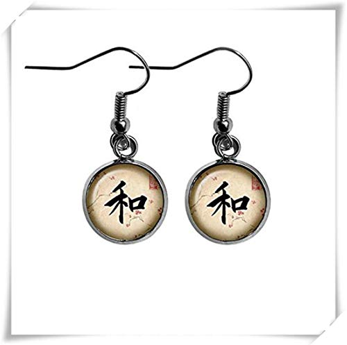 Japanese Calligraphy Kanji Harmony Flag Earrings,Dome Glass Ornaments, Pure Handmade, Unique Gifts