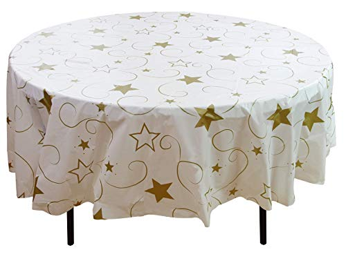 Exquisite 12 Pack Premium Holiday Design Round Plastic Tablecloth - Gold Star On White Disposable Plastic Tablecloth for Christmas - 84 in. Round -