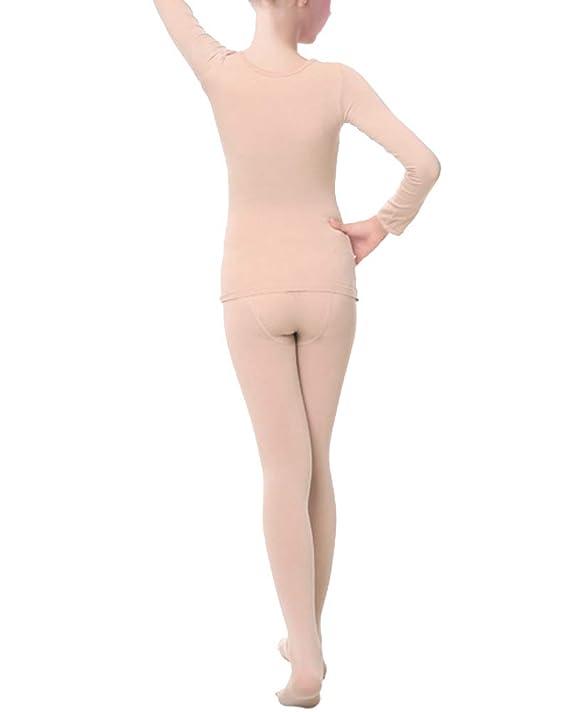 09d5f08e6e Mengmiao Danza Biancheria Intima Termica Bambini e Ragazze 2 Pezzi Set  Colore Nudo L: Amazon.it: Abbigliamento