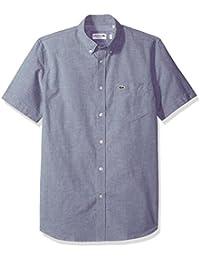 Men's Short Sleeve Button Down Oxford Solid Shirt Regular Fit