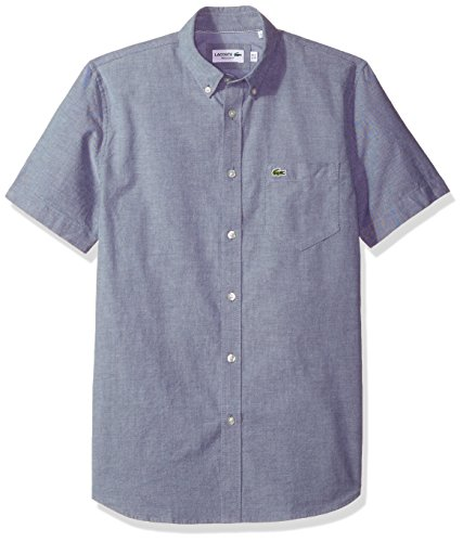 (Lacoste Men's Short Sleeve Button Down Oxford Solid Shirt Regular Fit, Navy Blue/White, Large)