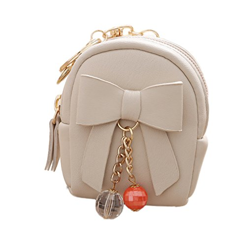 FinancePlan Women's Coin Purse Mini Bowknot Faux Leather Keychain Dangle Bead Pendant Bag