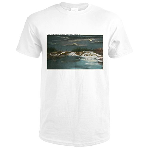 Auburn, Maine - North Bridge View Of The Falls at Night (Premium White T-Shirt - Shops North At Bridge
