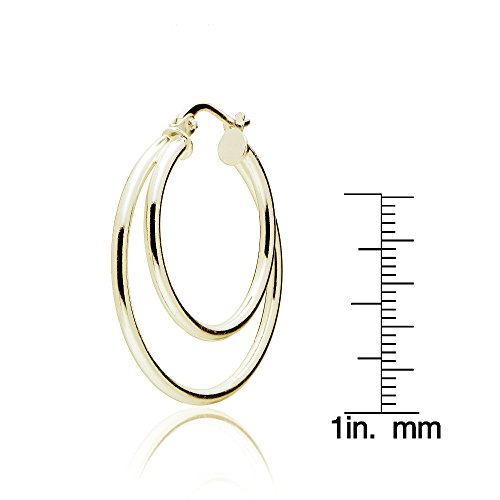 5f3f611e7 Sterling Silver Double Circle Round-Tube Polished Hoop Earrings, 30mm
