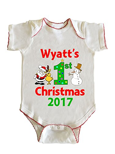 Greek Outfits For Boys (Wyatt's First Christmas Baby Boy Infant Bodysuit by Fashion Greek White 12M)