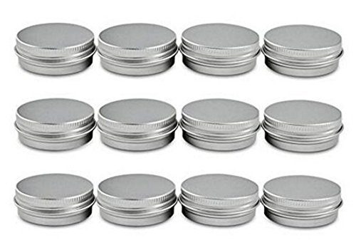 12PCS 60ML 2 Oz Silver Aluminum Empty Jar Cosmetic Sample Tins Slip Slide Round Containers Bottle Box With Tight Sealed Twist Screwtop Cover Small Ounce for Eye Shadow Powder Lip Balm Make Up