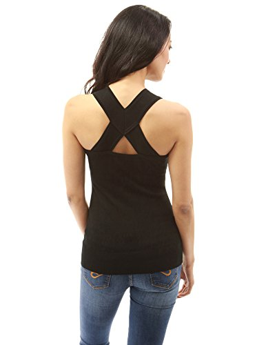 PattyBoutik Mujer racerback v cuello tejer camiseta negro