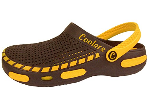 Mens Coolers Brown Yellow Swim Beach Holiday Mule Sandal Shoes Sizes 7 8 9 10 11 12 Brown Yellow C7aOTrTF