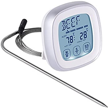 Touchscreen Digital Food Thermometer - Instant Read Meat Thermometer with Timer Alert and Long Food Grade Probe for Kitchen Cooking BBQ Grill Smoker