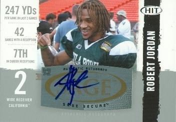 Autograph Warehouse 87823 Robert Jordan Autographed Football Card California 2008 Sage Hit Rookie No .A45