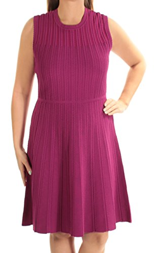 Anne Klein Womens Textured Shift Dress, Purple, Large