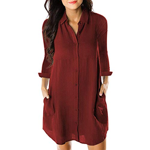 Price comparison product image Big Promotion Caopixx Dresses for Women Button Down Long Sleeve Casual Loose Swing Tunic Dress Pocket