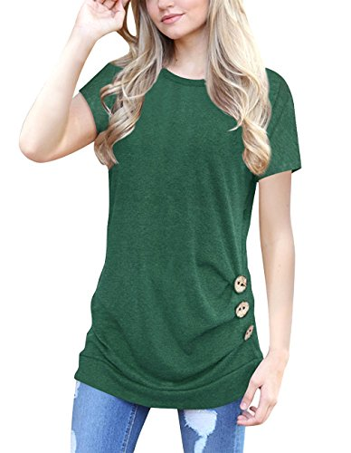 Womens Short Sleeve Blouse Casual Round Neck Loose Tunic Tops Button Decor T Shirts (Small, Green)