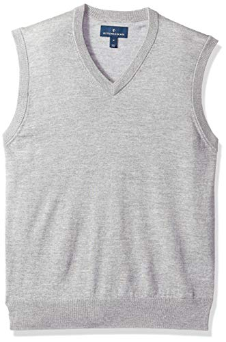 BUTTONED DOWN Men's Italian Merino Wool Lightweight Cashwool Sweater Vest, Grey Heather, XX-Large