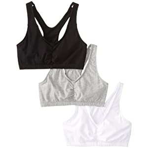Fruit of the Loom Women's Shirred Front Racerback Bra (Pack of 3), White/Black Hue/Heather Grey, Size 40