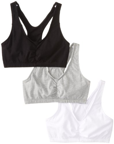 Fruit of the Loom Women's 3-Pack Shirred Front Racerback, White/Black Hue/Heather Grey, Size 38