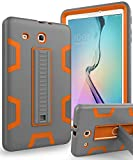 TIANLI Samsung Galaxy Tab E 9.6 Case Anti-Scratch Shockproof Three Layer Full Body Armor Protection with Sturdy Kickstand Anti-Fingerprint,Grey Orange
