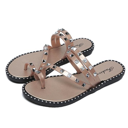 Fashion Summer Sandals Rivet Slippers Flip Pink Thong Flops Inkach Womens Sandals Shoes Flat Beach Iwq1xU66B