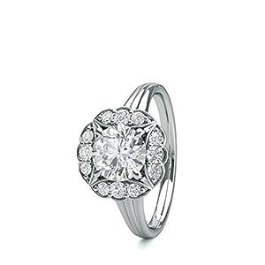 18K White Gold 4 Prong Setting Plain Halo Engagement Ring Size - 8