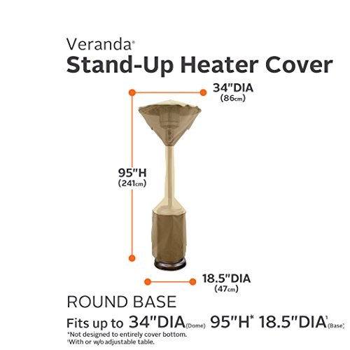 "Classic Accessories Veranda Standup Patio Heater Cover, Pebble, Fits Heaters With up to 34"" Dome and 18.5"" Base"