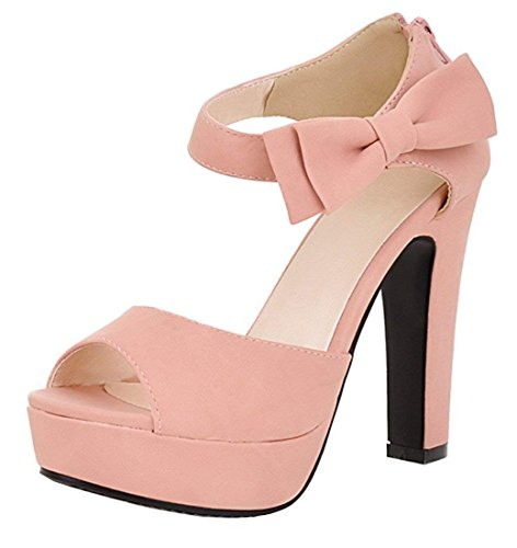 Alustan Sandaalit Juhlamekko Takaisin Peep Kallistuneena Nilkkalenkki Korkea Kengät Te Zip Pumput Keula Pinkki Naisten Toe nWRqInZY