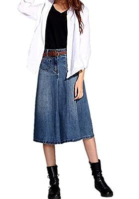 Skirt BL Women's Vintage Casual Plus Size Blue Long A Line Midi Denim Jean Skirt