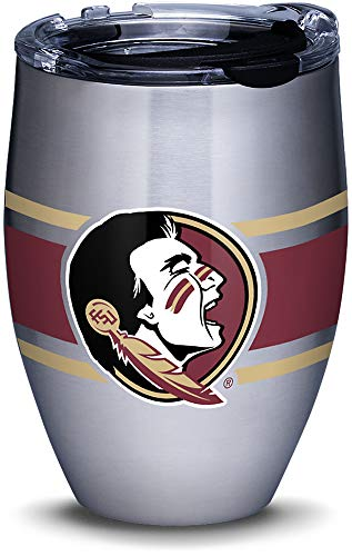 Tervis 1309975 Florida State Seminoles Stripes Stainless Steel Insulated Tumbler with Clear and Black Hammer Lid, 12oz, Silver ()