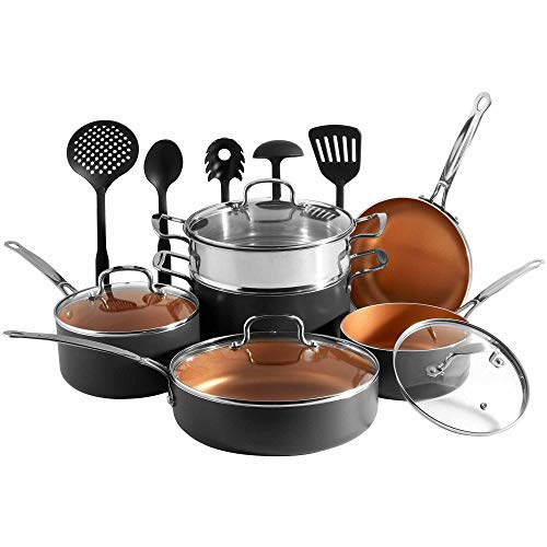 VonShef Copper Cookware Set, Copper Colored Aluminium Pan and Utensil Set Full Kitchen Bundle, Non-Stick, Easy Clean - 15 Piece Set -