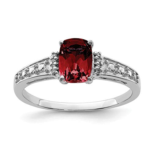 925 Sterling Silver Diamond Red Garnet Cushion Band Ring Size 6.00 Gemstone Fine Jewelry For Women Gift Set ()