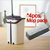 Home Mop and Bucket - Self Cleaning Flat Mop Bucket & 4 Pads