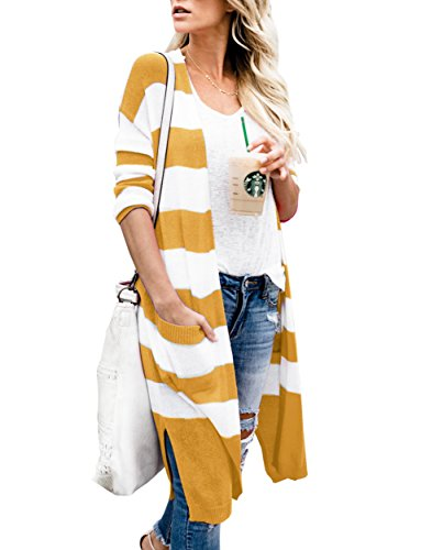 Yellow Stripe Sweater - Niitawm Womens Casual Striped Pockets Cardigans Long Sleeve Knit Lightweight Open Front Cardigan Sweater (M, Yellow)