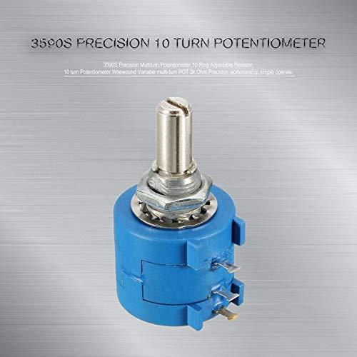 Azul 3590S Potenci/ómetro de precisi/ón multigiro 10 potenci/ómetro de resistencia ajustable de anillo Wirewound POT multigiro variable 10k Ohm