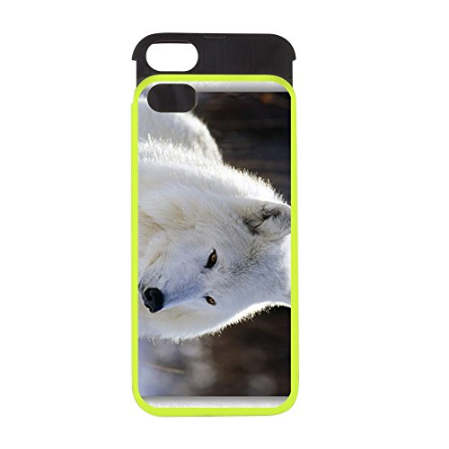 iPhone 5 or 5S Wallet Case Lime and Black Arctic White Wolf Arctic Gray Wolf