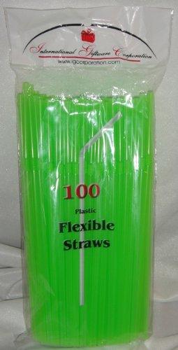 IGC Clearance 10,000 Straws - Flex/Flexible Drinking Straws - Wholesale Lot - Luau - Wedding - Party - Lime Green - Flexible Straws -
